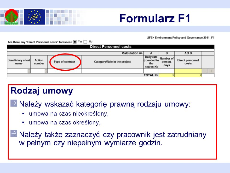Formularz F1 Rodzaj umowy Należy wskazać kategorię prawną rodzaju umowy: umowa na czas nieokreślony, umowa na czas określony, Należy także zaznaczyć czy pracownik jest zatrudniany w pełnym czy niepełnym wymiarze godzin.