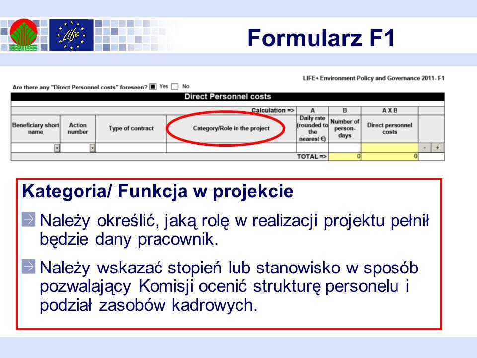 Formularz F1 Kategoria/ Funkcja w projekcie Należy określić, jaką rolę w realizacji projektu pełnił będzie dany pracownik.