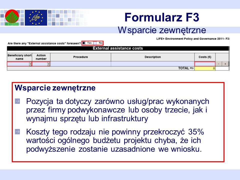 Formularz F3 Wsparcie zewnętrzne Wsparcie zewnętrzne Pozycja ta dotyczy zarówno usług/prac wykonanych przez firmy podwykonawcze lub osoby trzecie, jak i wynajmu sprzętu lub infrastruktury Koszty tego rodzaju nie powinny przekroczyć 35% wartości ogólnego budżetu projektu chyba, że ich podwyższenie zostanie uzasadnione we wniosku.