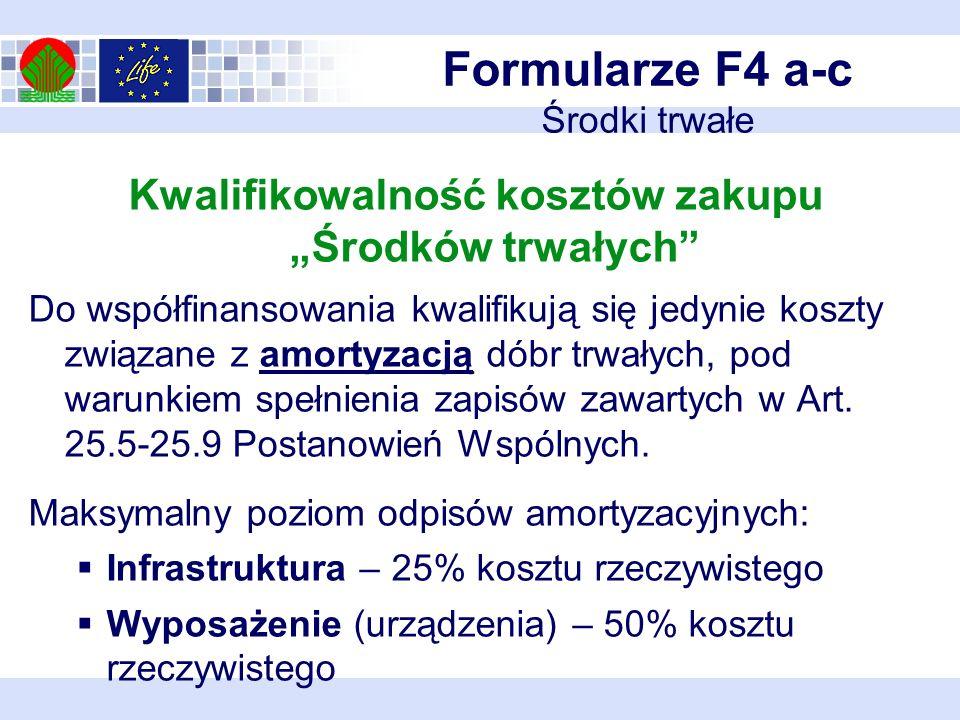 Formularze F4 a-c Środki trwałe Kwalifikowalność kosztów zakupu Środków trwałych Do współfinansowania kwalifikują się jedynie koszty związane z amortyzacją dóbr trwałych, pod warunkiem spełnienia zapisów zawartych w Art.
