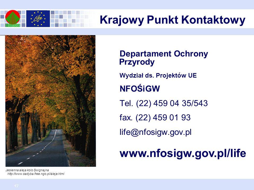 47 Departament Ochrony Przyrody Wydział ds. Projektów UE NFOŚiGW Tel.