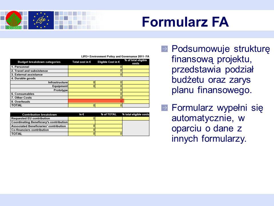 Formularz FA Podsumowuje strukturę finansową projektu, przedstawia podział budżetu oraz zarys planu finansowego.