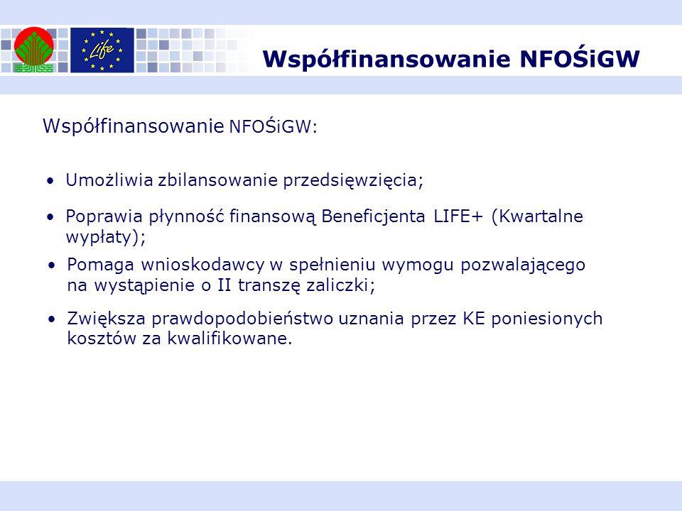 Współfinansowanie NFOŚiGW: Umożliwia zbilansowanie przedsięwzięcia; Poprawia płynność finansową Beneficjenta LIFE+ (Kwartalne wypłaty); Pomaga wniosko