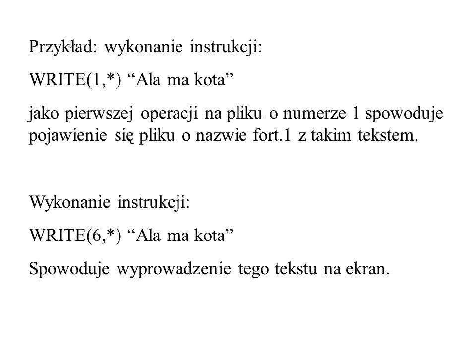 Przykład: wykonanie instrukcji: WRITE(1,*) Ala ma kota jako pierwszej operacji na pliku o numerze 1 spowoduje pojawienie się pliku o nazwie fort.1 z takim tekstem.