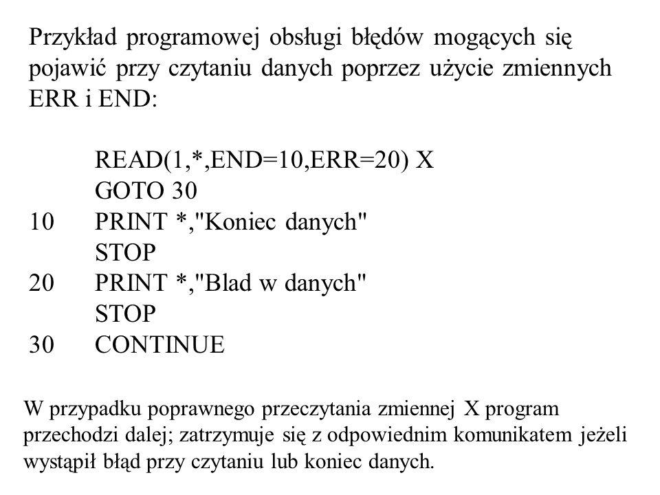 Przykład programowej obsługi błędów mogących się pojawić przy czytaniu danych poprzez użycie zmiennych ERR i END: READ(1,*,END=10,ERR=20) X GOTO 30 10 PRINT *, Koniec danych STOP 20 PRINT *, Blad w danych STOP 30 CONTINUE W przypadku poprawnego przeczytania zmiennej X program przechodzi dalej; zatrzymuje się z odpowiednim komunikatem jeżeli wystąpił błąd przy czytaniu lub koniec danych.
