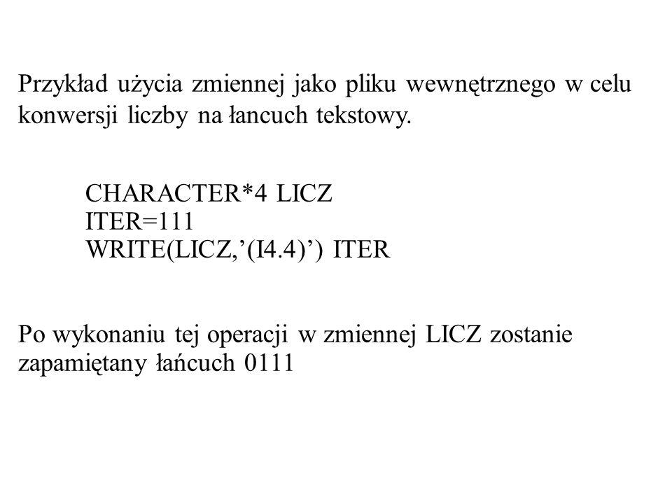 Przykład użycia zmiennej jako pliku wewnętrznego w celu konwersji liczby na łancuch tekstowy.