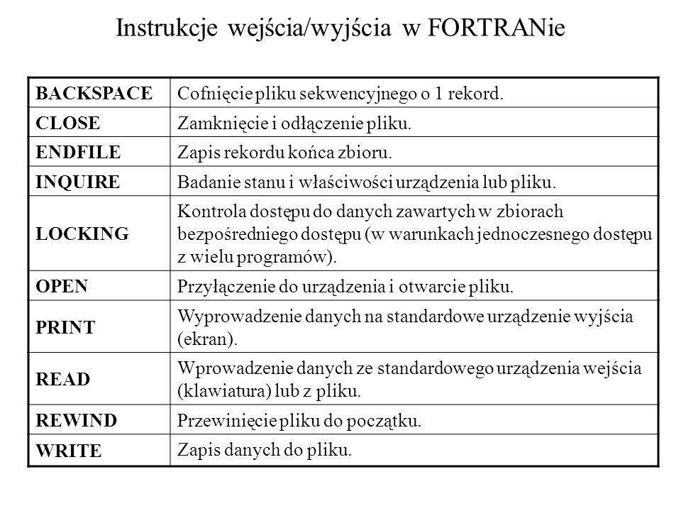 Instrukcje wejścia/wyjścia w FORTRANie BACKSPACE Cofnięcie pliku sekwencyjnego o 1 rekord.