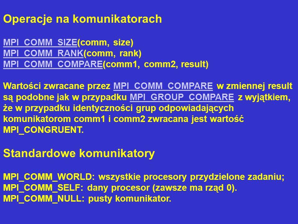 Operacje na komunikatorach MPI_COMM_SIZEMPI_COMM_SIZE(comm, size) MPI_COMM_RANKMPI_COMM_RANK(comm, rank) MPI_COMM_COMPAREMPI_COMM_COMPARE(comm1, comm2