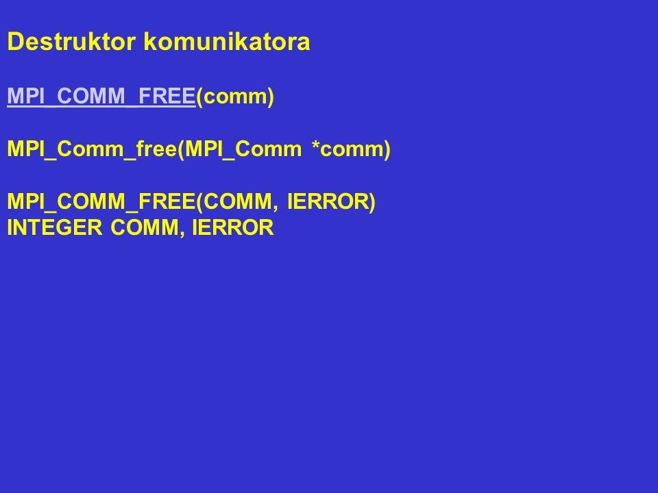 Destruktor komunikatora MPI_COMM_FREEMPI_COMM_FREE(comm) MPI_Comm_free(MPI_Comm *comm) MPI_COMM_FREE(COMM, IERROR) INTEGER COMM, IERROR
