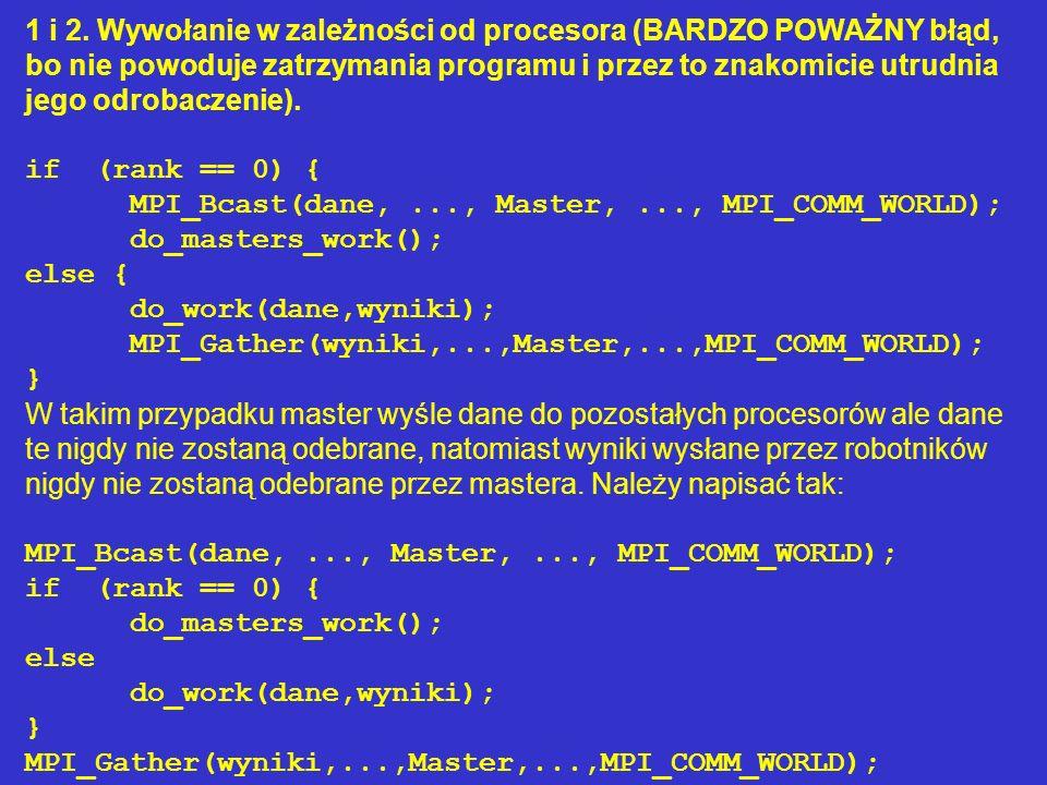 1 i 2. Wywołanie w zależności od procesora (BARDZO POWAŻNY błąd, bo nie powoduje zatrzymania programu i przez to znakomicie utrudnia jego odrobaczenie