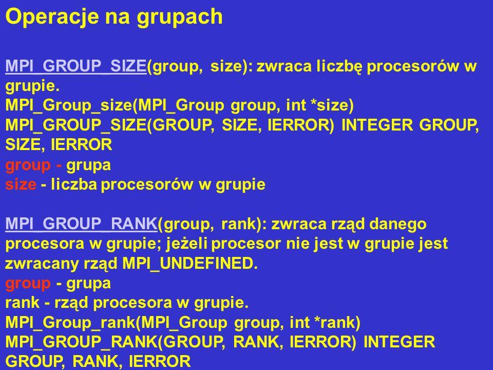 Operacje na grupach MPI_GROUP_SIZEMPI_GROUP_SIZE(group, size): zwraca liczbę procesorów w grupie. MPI_Group_size(MPI_Group group, int *size) MPI_GROUP