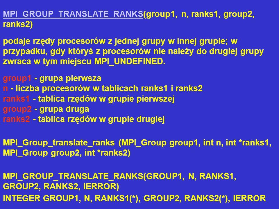 MPI_GROUP_TRANSLATE_RANKSMPI_GROUP_TRANSLATE_RANKS(group1, n, ranks1, group2, ranks2) podaje rzędy procesorów z jednej grupy w innej grupie; w przypad