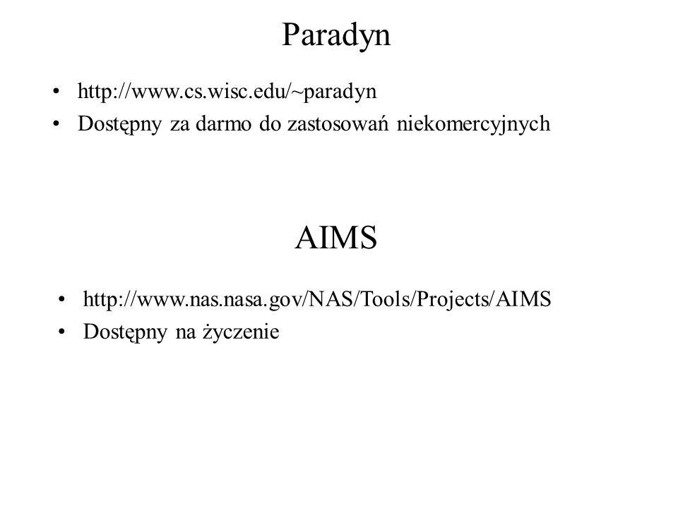 Paradyn http://www.cs.wisc.edu/~paradyn Dostępny za darmo do zastosowań niekomercyjnych AIMS http://www.nas.nasa.gov/NAS/Tools/Projects/AIMS Dostępny