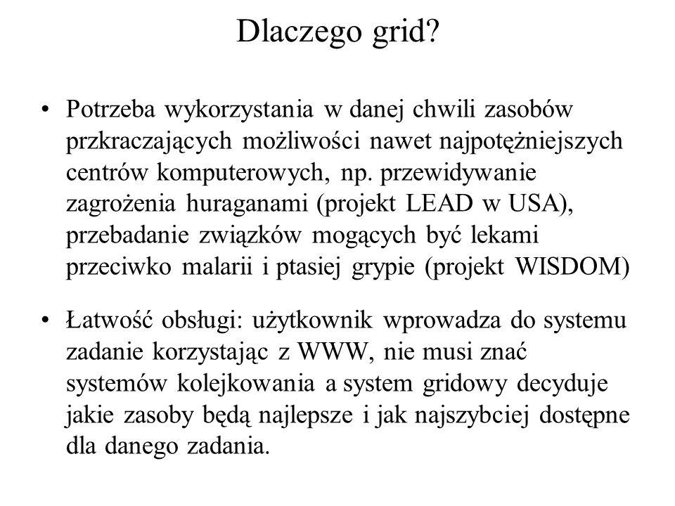 Dlaczego grid? Potrzeba wykorzystania w danej chwili zasobów przkraczających możliwości nawet najpotężniejszych centrów komputerowych, np. przewidywan