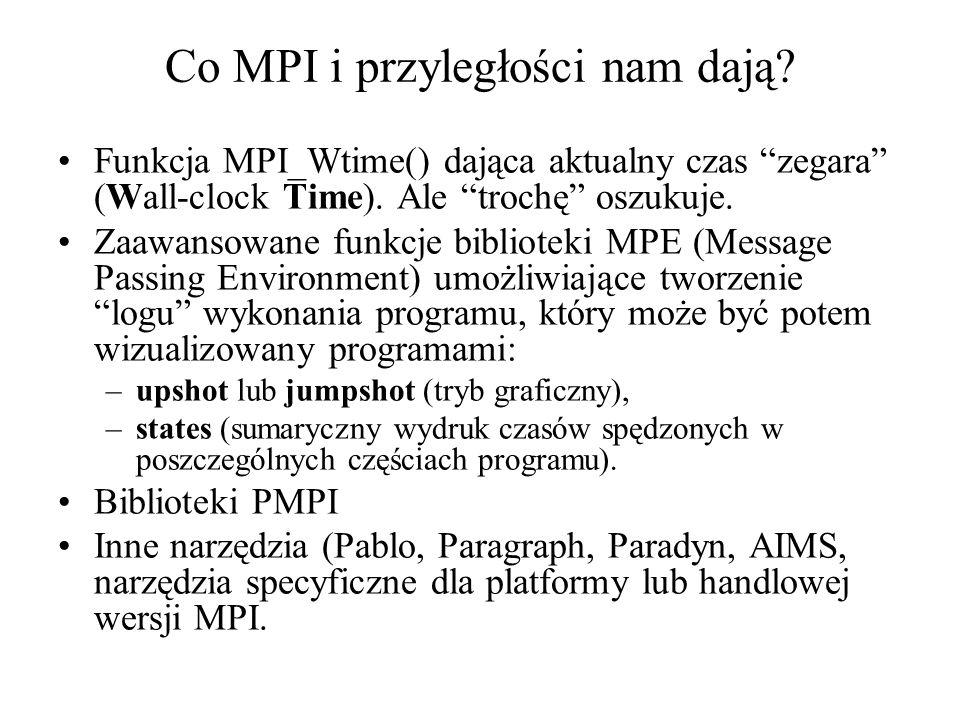 Co MPI i przyległości nam dają? Funkcja MPI_Wtime() dająca aktualny czas zegara (Wall-clock Time). Ale trochę oszukuje. Zaawansowane funkcje bibliotek