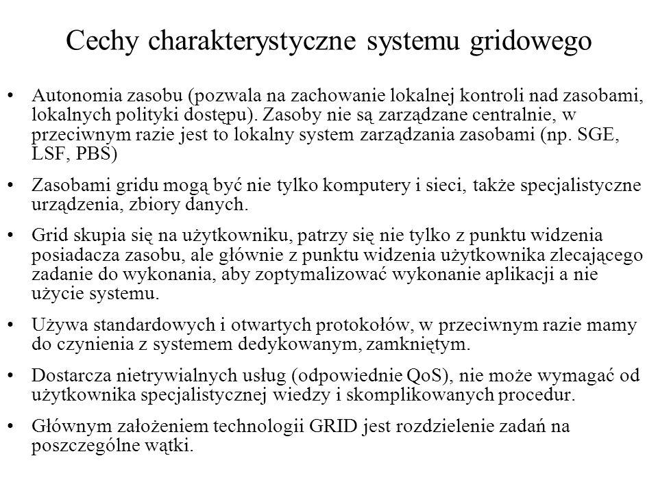 Cechy charakterystyczne systemu gridowego Autonomia zasobu (pozwala na zachowanie lokalnej kontroli nad zasobami, lokalnych polityki dostępu). Zasoby