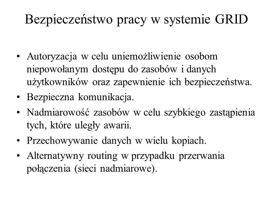 Bezpieczeństwo pracy w systemie GRID Autoryzacja w celu uniemożliwienie osobom niepowołanym dostępu do zasobów i danych użytkowników oraz zapewnienie ich bezpieczeństwa.