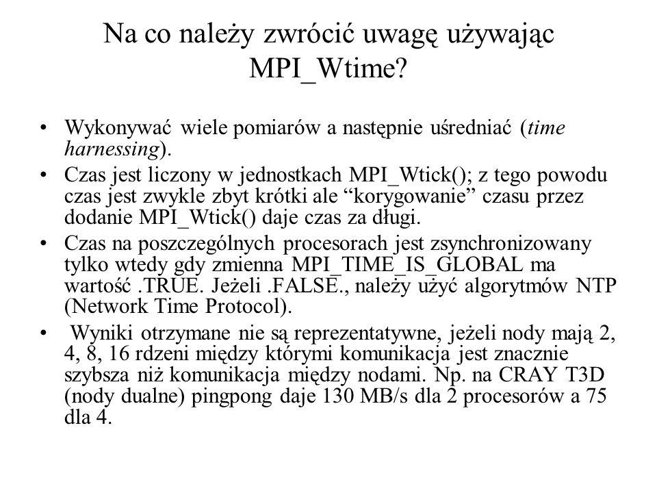 Na co należy zwrócić uwagę używając MPI_Wtime.