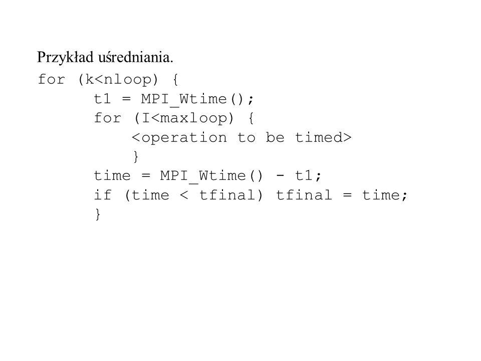Przykład uśredniania. for (k } time = MPI_Wtime() - t1; if (time < tfinal) tfinal = time; }