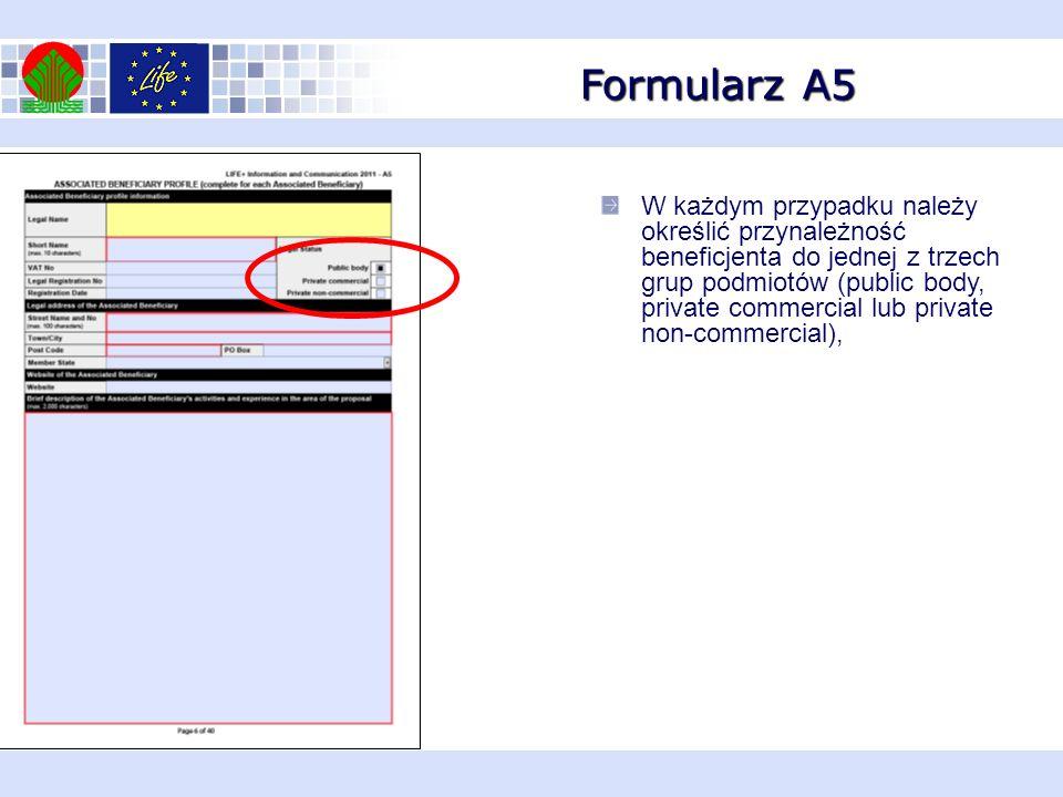 Formularz A6 W przypadku braku współfinansujących w formularzu A1 należy zaznaczyć opcję NO dla sformułowania Add co-finiancer, W zaznaczonym miejscu należy wpisać nazwę projektu Należy podać nazwisko i funkcję osoby podpisującej i datę