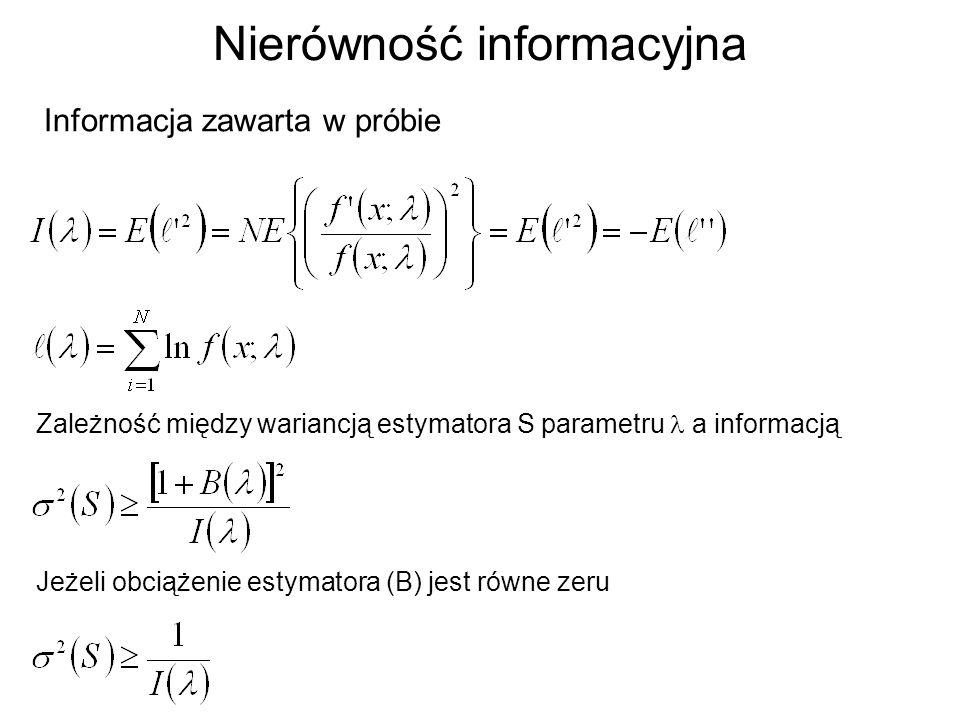 Nierówność informacyjna Informacja zawarta w próbie Zależność między wariancją estymatora S parametru a informacją Jeżeli obciążenie estymatora (B) je