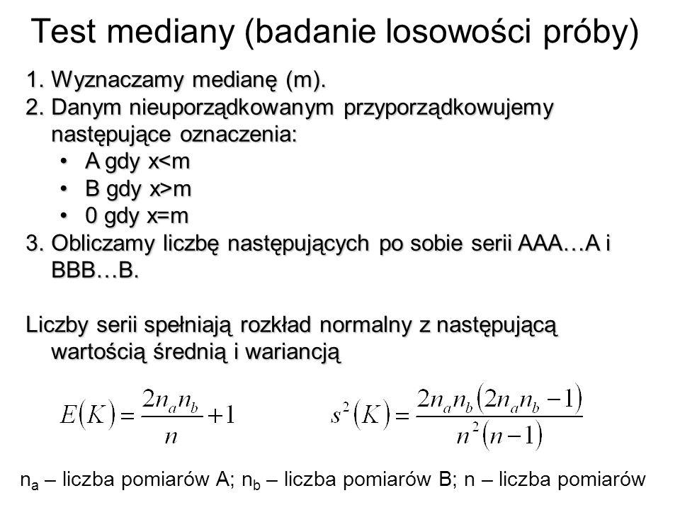 Test mediany (badanie losowości próby) 1.Wyznaczamy medianę (m). 2.Danym nieuporządkowanym przyporządkowujemy następujące oznaczenia: A gdy x<mA gdy x