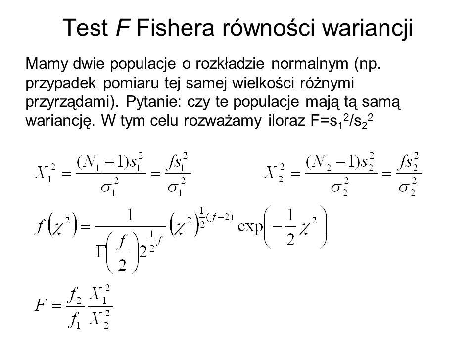 Test F Fishera równości wariancji Mamy dwie populacje o rozkładzie normalnym (np. przypadek pomiaru tej samej wielkości różnymi przyrządami). Pytanie: