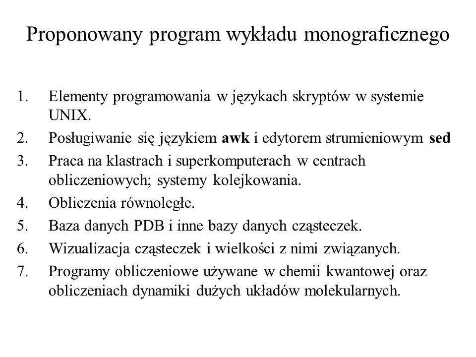 Proponowany program wykładu monograficznego 1.Elementy programowania w językach skryptów w systemie UNIX. 2.Posługiwanie się językiem awk i edytorem s
