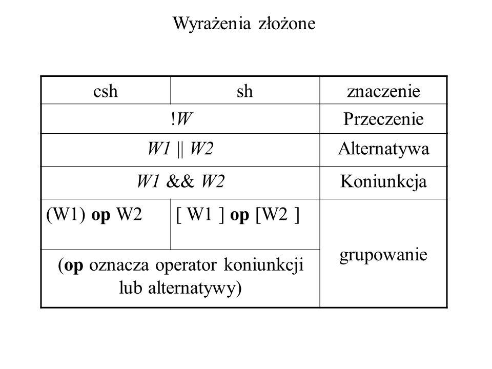 Wyrażenia złożone cshshznaczenie !W!WPrzeczenie W1 || W2Alternatywa W1 && W2Koniunkcja (W1) op W2[ W1 ] op [W2 ] grupowanie (op oznacza operator koniu