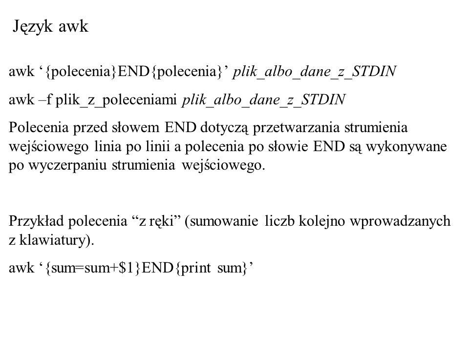 Język awk awk {polecenia}END{polecenia} plik_albo_dane_z_STDIN awk –f plik_z_poleceniami plik_albo_dane_z_STDIN Polecenia przed słowem END dotyczą prz
