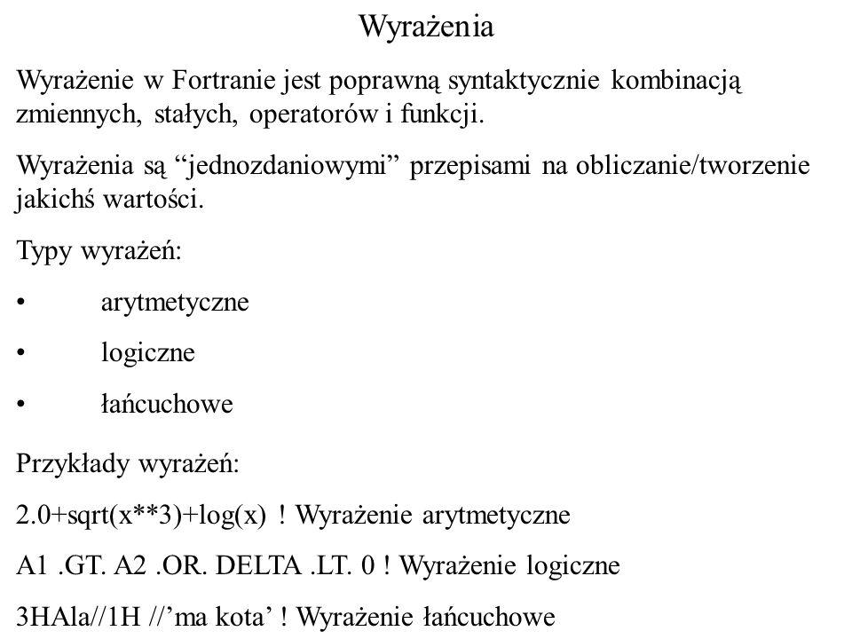 Wyrażenia Wyrażenie w Fortranie jest poprawną syntaktycznie kombinacją zmiennych, stałych, operatorów i funkcji. Wyrażenia są jednozdaniowymi przepisa