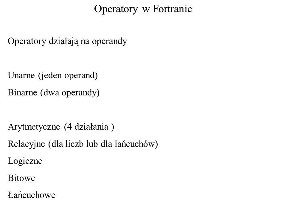 Operatory działają na operandy Unarne (jeden operand) Binarne (dwa operandy) Arytmetyczne (4 działania ) Relacyjne (dla liczb lub dla łańcuchów) Logic