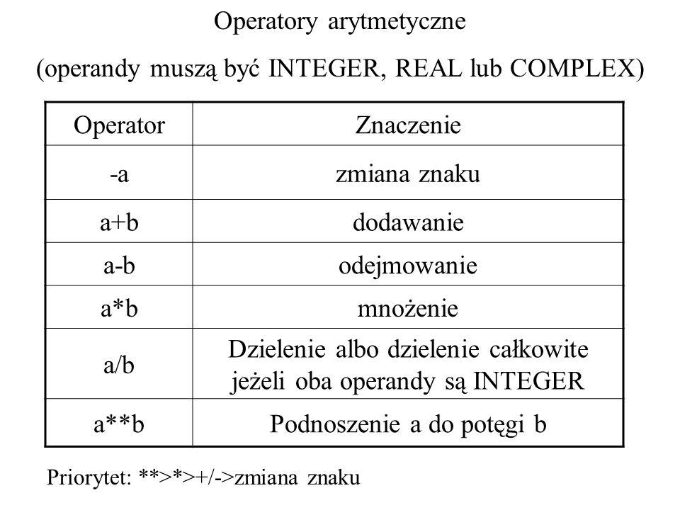 Operatory arytmetyczne (operandy muszą być INTEGER, REAL lub COMPLEX) OperatorZnaczenie -azmiana znaku a+bdodawanie a-bodejmowanie a*bmnożenie a/b Dzielenie albo dzielenie całkowite jeżeli oba operandy są INTEGER a**bPodnoszenie a do potęgi b Priorytet: **>*>+/->zmiana znaku