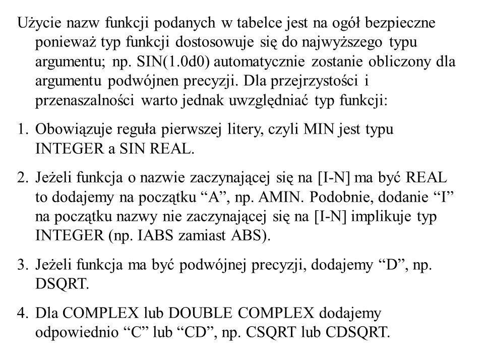 Użycie nazw funkcji podanych w tabelce jest na ogół bezpieczne ponieważ typ funkcji dostosowuje się do najwyższego typu argumentu; np. SIN(1.0d0) auto