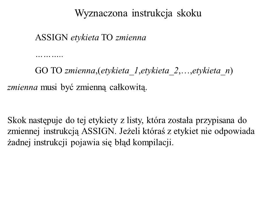 Wyznaczona instrukcja skoku ASSIGN etykieta TO zmienna ………..