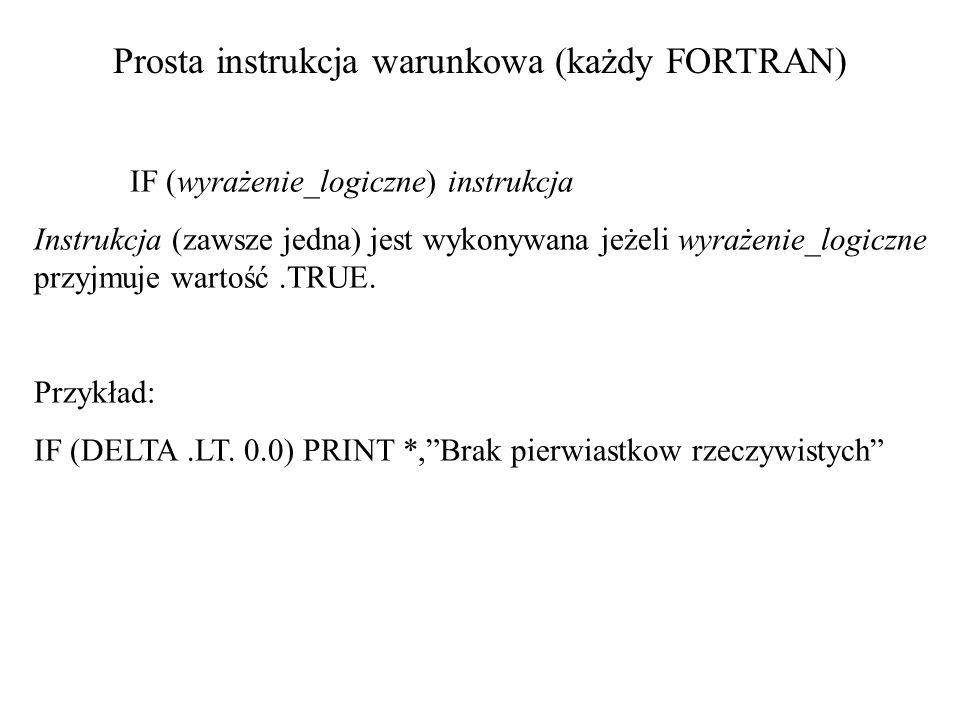 Blokowa instrukcja warunkowa (od FORTRANu 77) IF (wyrażenie_logiczne) THEN Instrukcja_1 Instrukcja_2 …..
