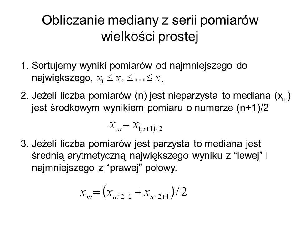 Obliczanie mediany z serii pomiarów wielkości prostej 1.Sortujemy wyniki pomiarów od najmniejszego do największego, 2.Jeżeli liczba pomiarów (n) jest