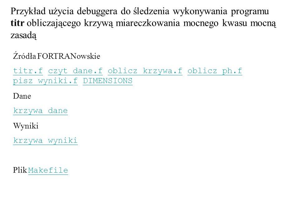 Przykład użycia debuggera do śledzenia wykonywania programu titr obliczającego krzywą miareczkowania mocnego kwasu mocną zasadą Źródła FORTRANowskie t