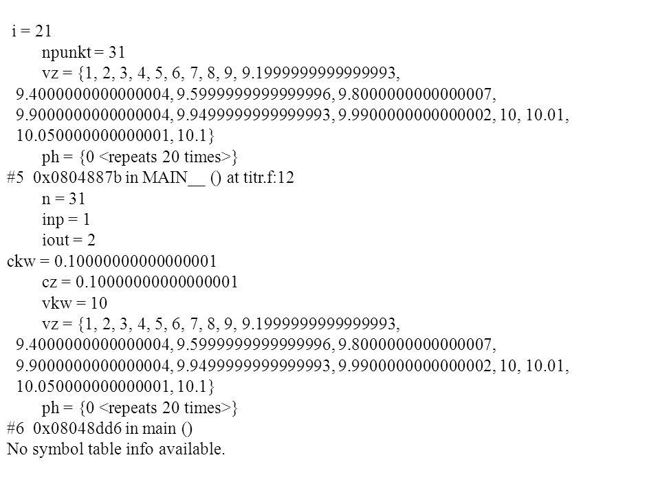i = 21 npunkt = 31 vz = {1, 2, 3, 4, 5, 6, 7, 8, 9, 9.1999999999999993, 9.4000000000000004, 9.5999999999999996, 9.8000000000000007, 9.9000000000000004