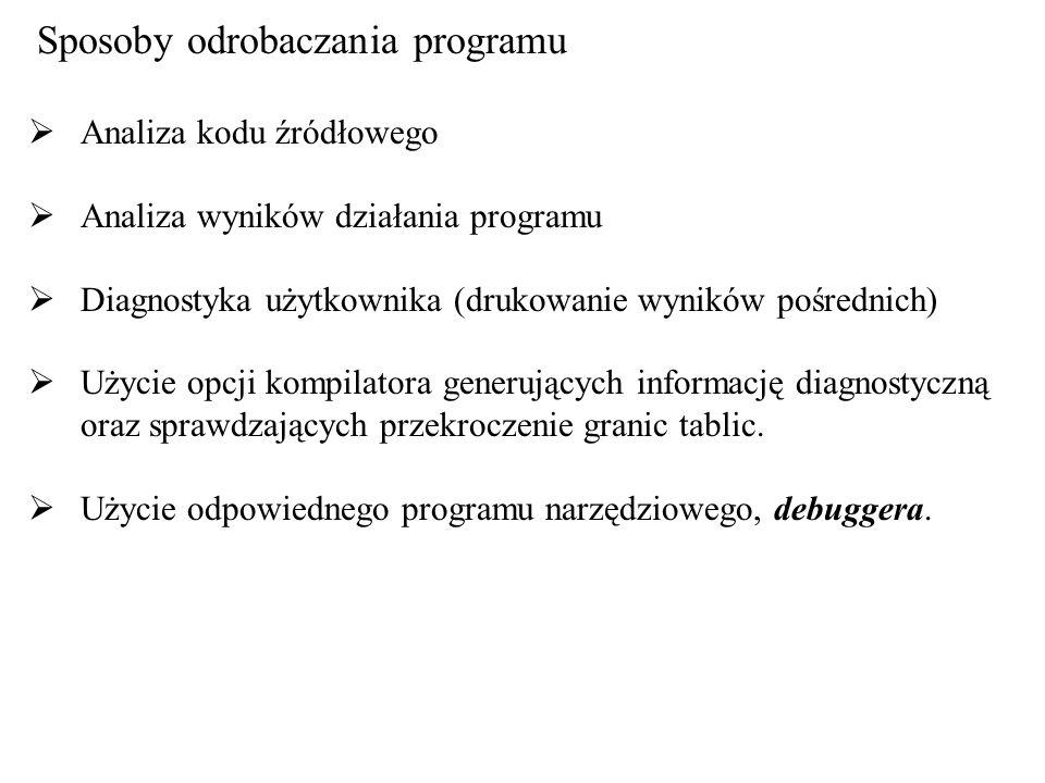 Sposoby odrobaczania programu Analiza kodu źródłowego Analiza wyników działania programu Diagnostyka użytkownika (drukowanie wyników pośrednich) Użyci