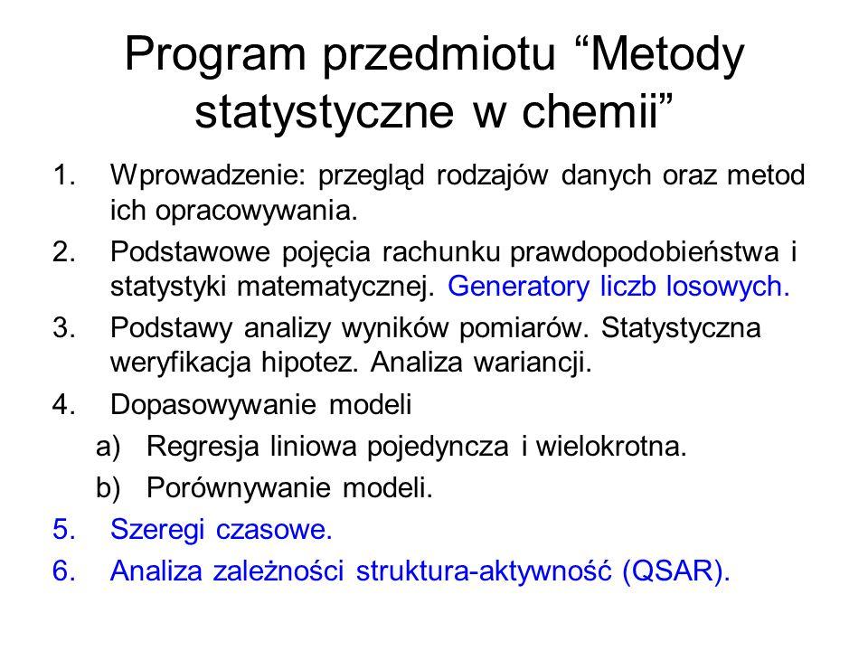 Program przedmiotu Metody statystyczne w chemii 1.Wprowadzenie: przegląd rodzajów danych oraz metod ich opracowywania. 2.Podstawowe pojęcia rachunku p