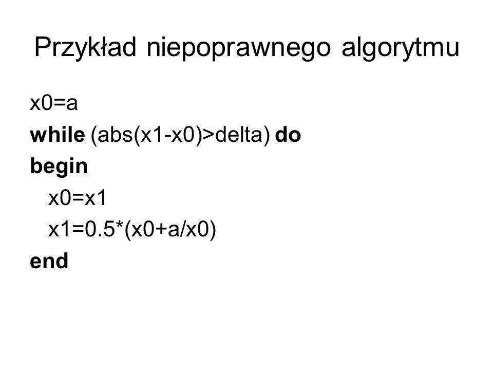Przykład niepoprawnego algorytmu x0=a while (abs(x1-x0)>delta) do begin x0=x1 x1=0.5*(x0+a/x0) end