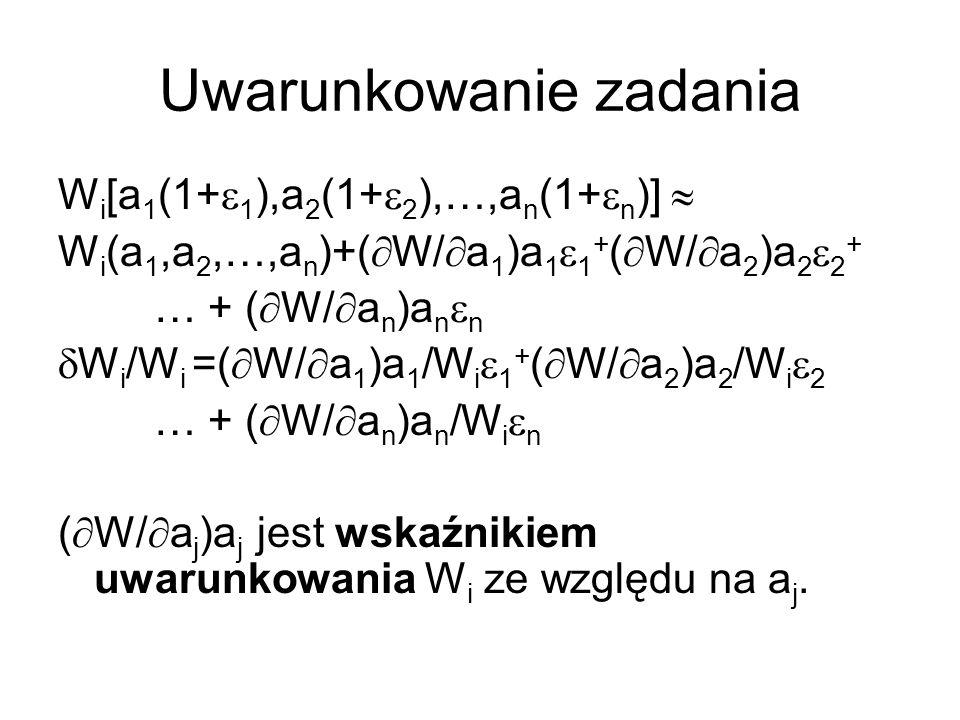 Uwarunkowanie zadania W i [a 1 (1+ 1 ),a 2 (1+ 2 ),…,a n (1+ n )] W i (a 1,a 2,…,a n )+( W/ a 1 )a 1 1 + ( W/ a 2 )a 2 2 + … + ( W/ a n )a n n W i /W i =( W/ a 1 )a 1 /W i 1 + ( W/ a 2 )a 2 /W i 2 … + ( W/ a n )a n /W i n ( W/ a j )a j jest wskaźnikiem uwarunkowania W i ze względu na a j.