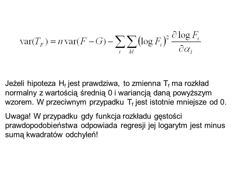 Jeżeli hipoteza H f jest prawdziwa, to zmienna T f ma rozkład normalny z wartością średnią 0 i wariancją daną powyższym wzorem. W przeciwnym przypadku