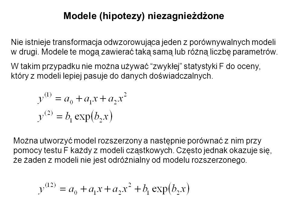 Modele (hipotezy) niezagnieżdżone Nie istnieje transformacja odwzorowująca jeden z porównywalnych modeli w drugi. Modele te mogą zawierać taką samą lu