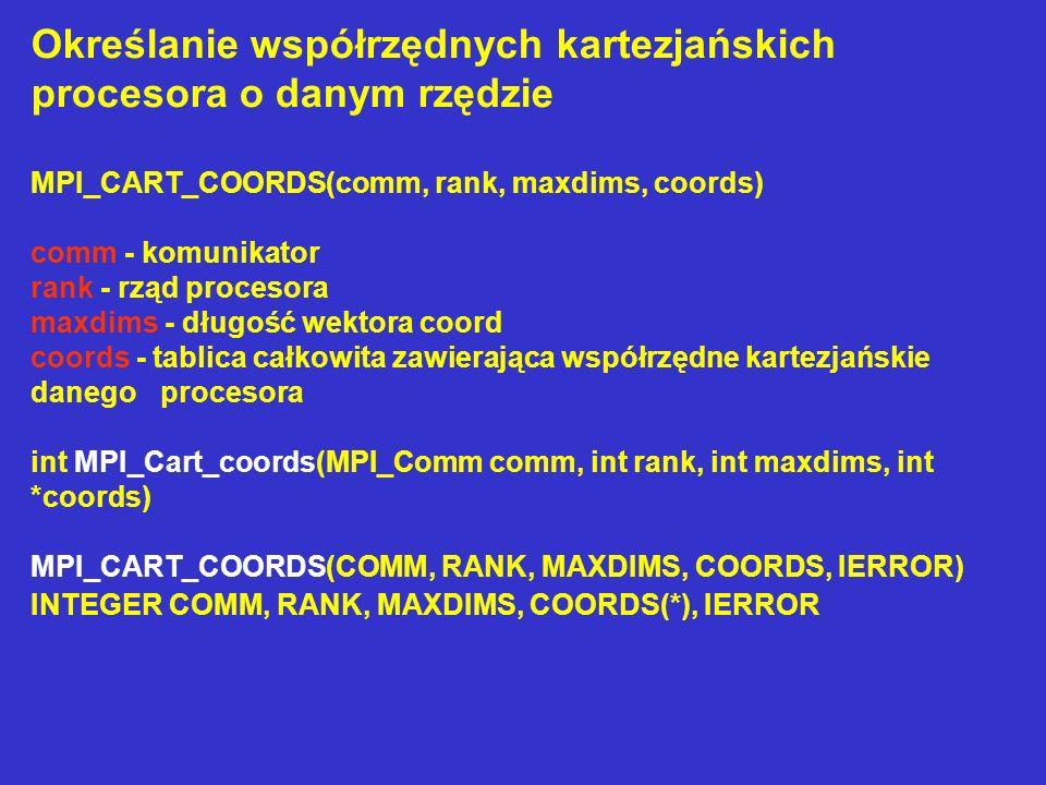 Określanie współrzędnych kartezjańskich procesora o danym rzędzie MPI_CART_COORDS(comm, rank, maxdims, coords) comm - komunikator rank - rząd procesor