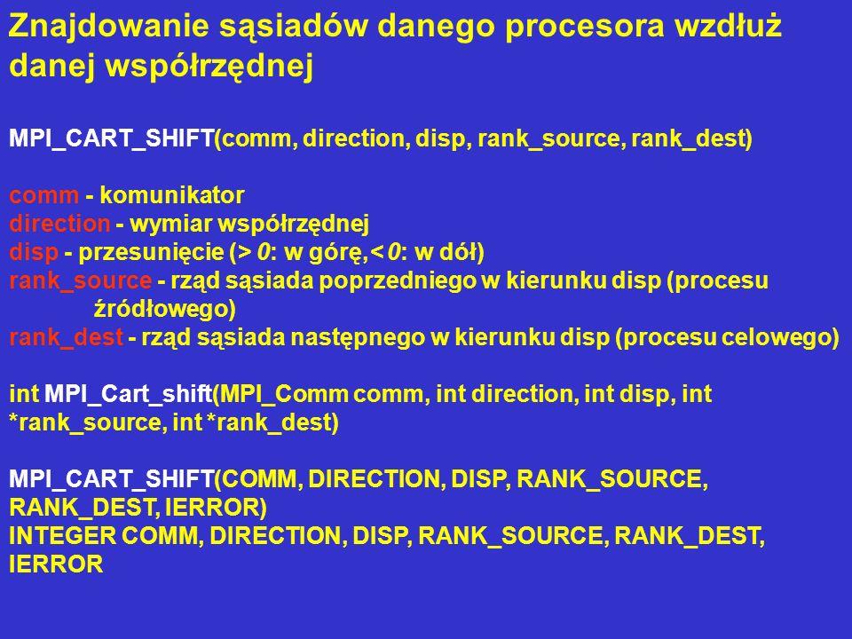 Znajdowanie sąsiadów danego procesora wzdłuż danej współrzędnej MPI_CART_SHIFT(comm, direction, disp, rank_source, rank_dest) comm - komunikator direc
