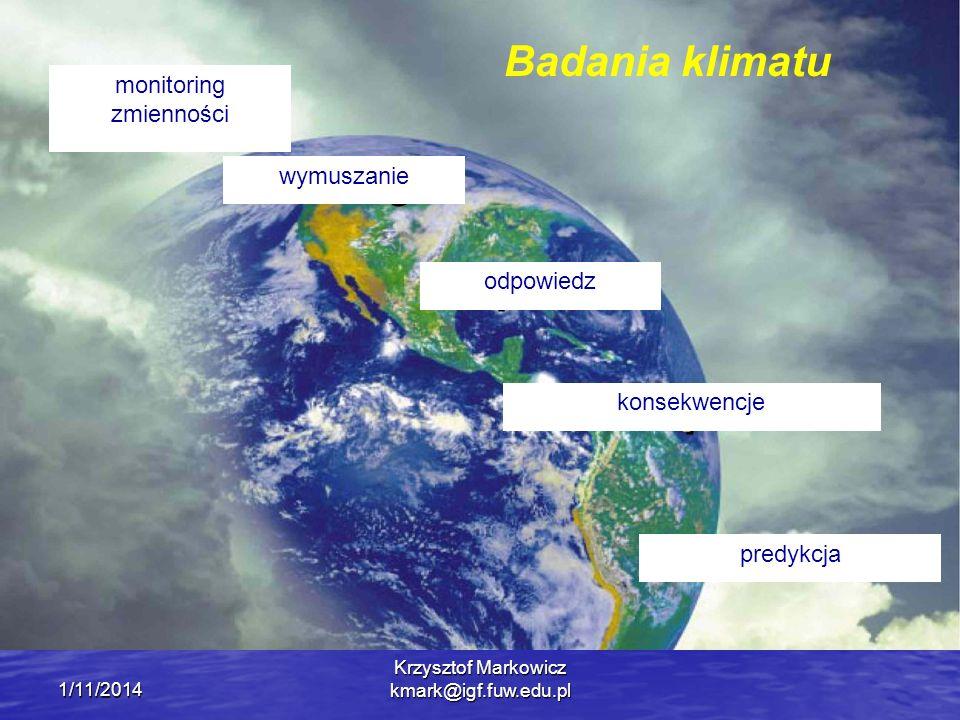 1/11/2014 Krzysztof Markowicz kmark@igf.fuw.edu.pl Badania klimatu monitoring zmienności wymuszanie odpowiedz predykcja konsekwencje