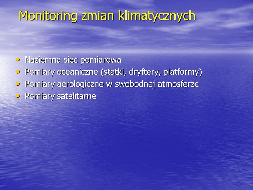 Monitoring zmian klimatycznych Naziemna siec pomiarowa Naziemna siec pomiarowa Pomiary oceaniczne (statki, dryftery, platformy) Pomiary oceaniczne (st