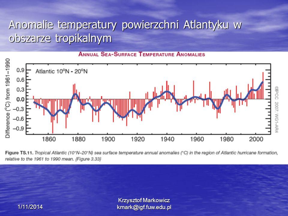 1/11/2014 Krzysztof Markowicz kmark@igf.fuw.edu.pl Anomalie temperatury powierzchni Atlantyku w obszarze tropikalnym
